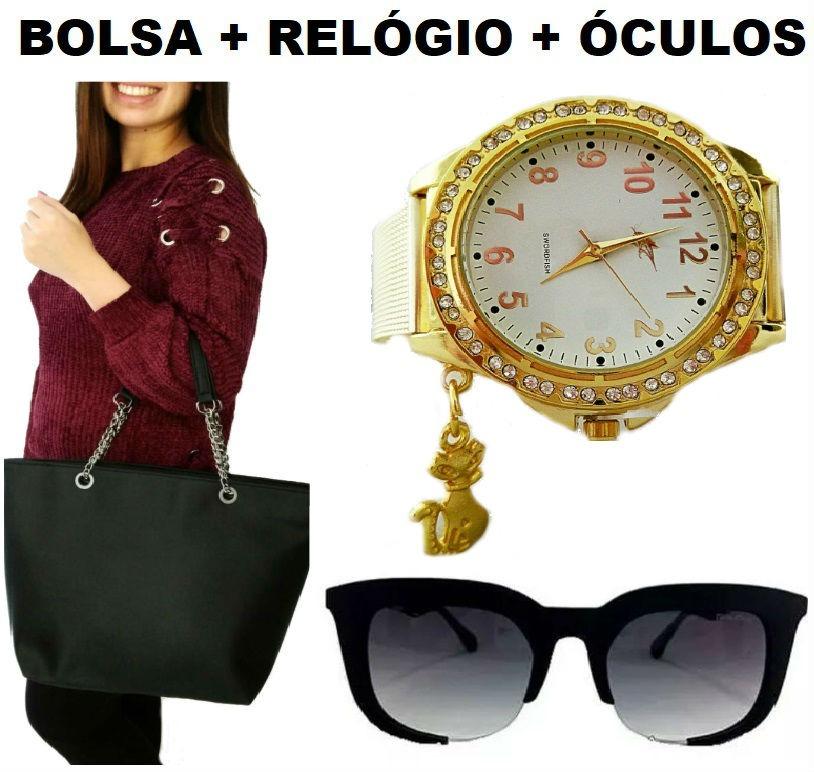 68fa94f6bdd95 combo para mulher bolsa grande relógio analógico óculos moda. Carregando  zoom.
