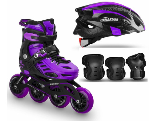 combo patines canariam blackmagic+ kit c4 + casco sonic.