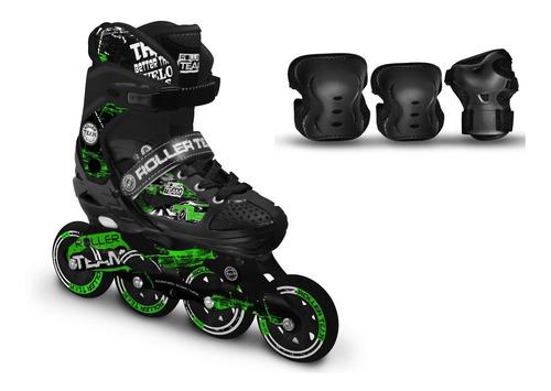 combo patines canariam roller team + kit de protección c4