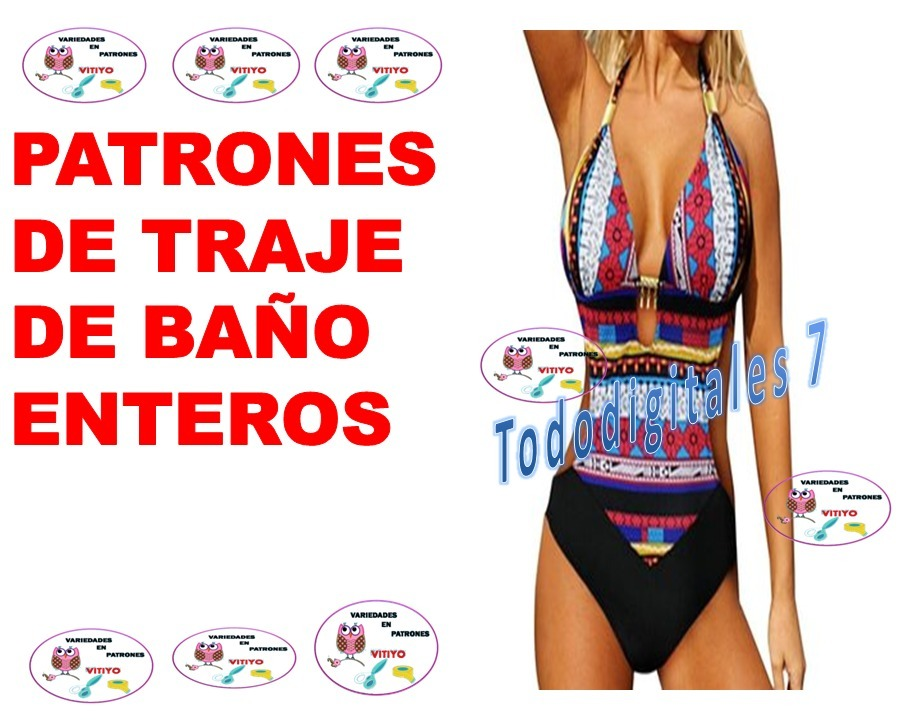 Combo Patrones De Traje De Baño Trikini,strapple, Tankini, - Bs ...