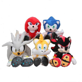 Combo Peluches Sonic,knukles,tails,shadow Y Silver X5 U