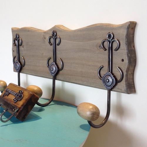 combo perchero de pared en madera + llavero. estilo campo
