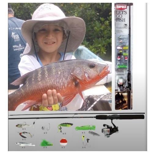 combo pesca caña, carrete y accesorios rapala ¡envío gratis!