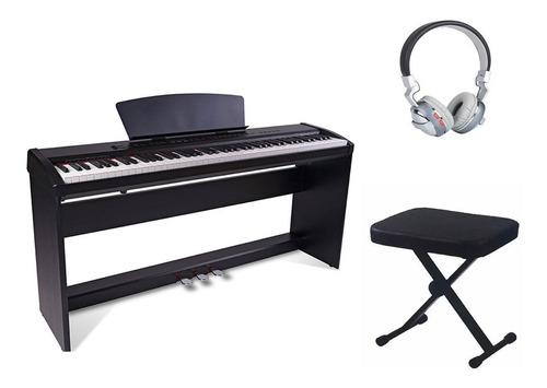 combo piano electrico parquer p9 negro banqueta auriculares