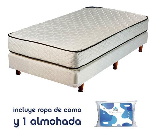 combo piero colchón somier 1 plaza almohada ropa de cama
