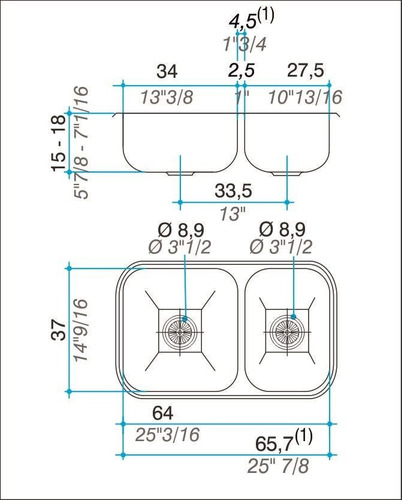 combo pileta cocina doble johnson r63/18 acero + monocomando
