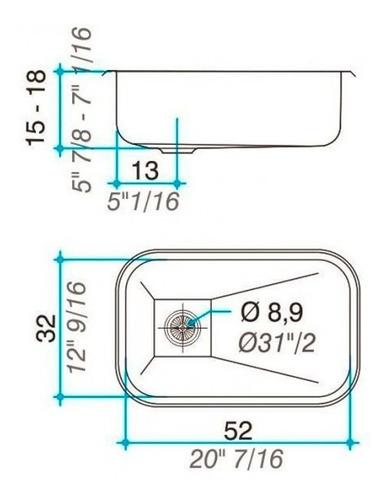 combo pileta cocina simple johnson zz52 + griferí fv arizona