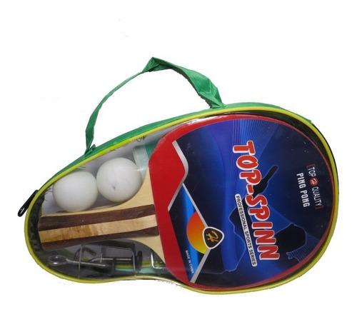 combo ping pong 2 paletas+ 2 pelotas+ red tensores full