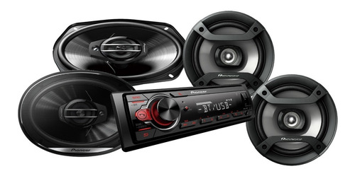 combo pioneer mxt s216bt + parlantes pioneer 6x9 ts g6930f