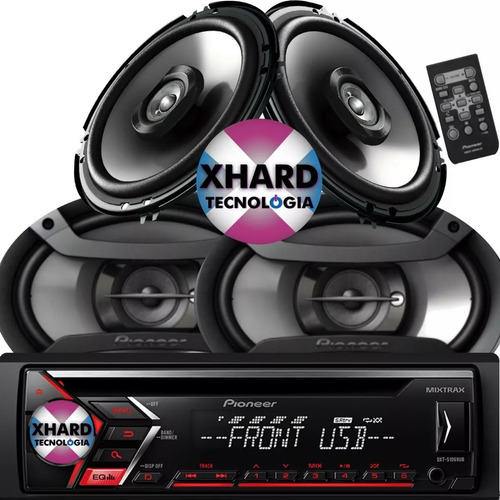 combo pioneer stereo deh x186ub + parlantes 6x9 + 6,5 pulg