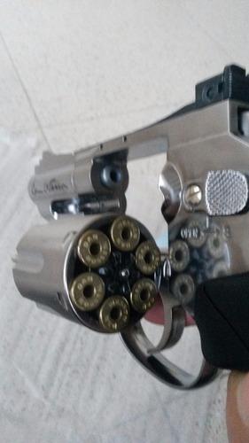 combo pistola 9mm aut + revolver 38 corto cromado airsof