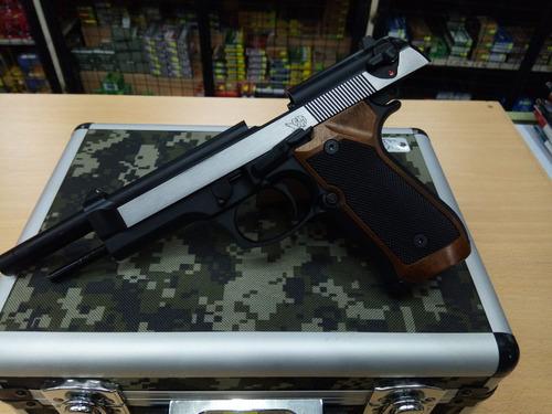 combo pistola airsoft beretta m92-2+greengas+balines+maletin