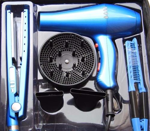 combo plancha cabello alisado + secador + peine profesional