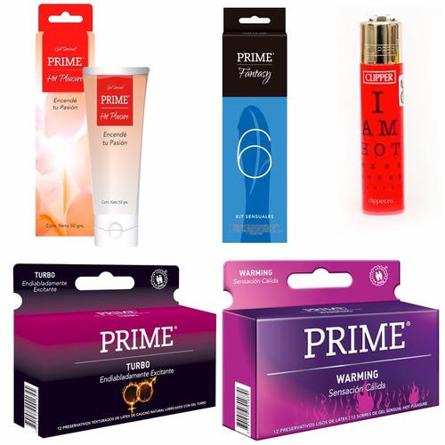 combo prime fantasy 6 + preservativos x24 + gel + regalo