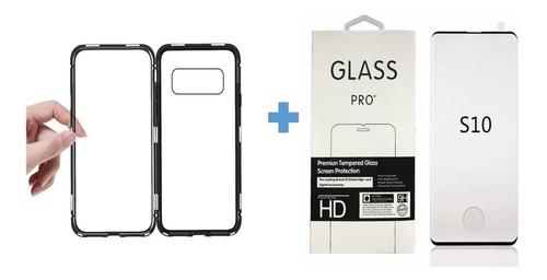 combo protector imantado magnet s10e, s10, s10 plus + vidrio