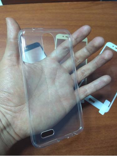 combo protector silicona + vidrio curvo lg k10 2017