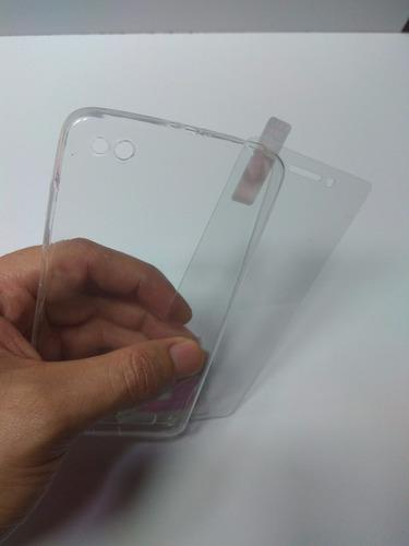 combo protector xiaomi redmi 4a silicona + vidrio templado