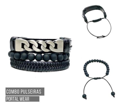 combo pulseira masculina regulável couro ecológico preto