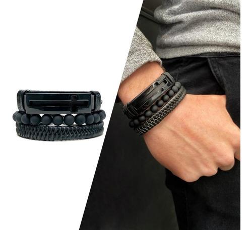 combo pulseiras masculinas regulável cruz preta couro eco