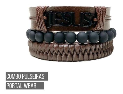 combo pulseiras masculinas regulável marrom couro ecológico