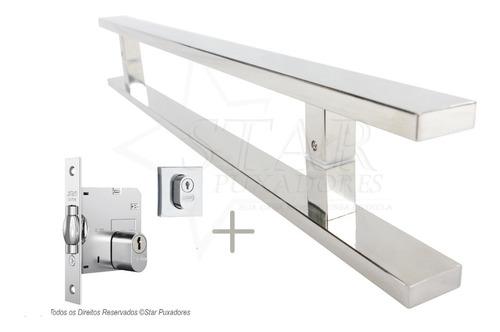 combo puxador 1 m + fechadura rolete stam p/ porta pivotante
