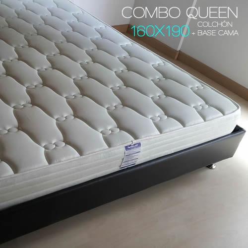 combo queen colchón 160x190 + base cama +envio gratis bogota