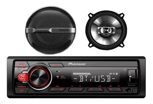 combo radio auto pioneer mvh-s215bt + parlantes 5'' philips
