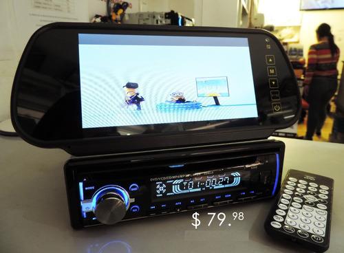 combo radio dvd + pantalla retrovisor 7 pulgadas / 2 piezas