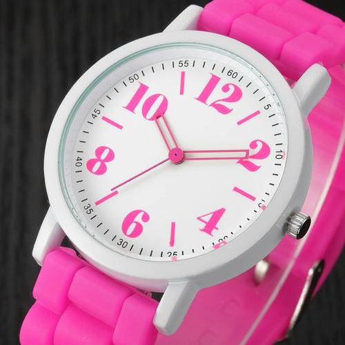combo reloj dama deportivo + juego collar aretes flores rosa