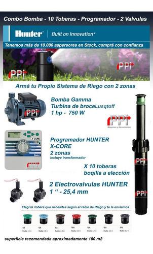 combo riego programador bomba 2 valvulas 10 toberas hunter
