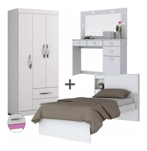 combo ropero + tocador con luces + cama 1 plaza