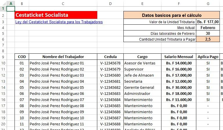 Combo rrhh 2018 nomina calculos salariales lottt excel Formato de nomina para pago de sueldos