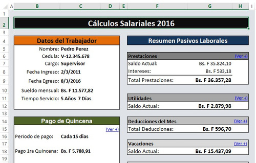 combo rrhh 2018 nomina calculos salariales lottt excel