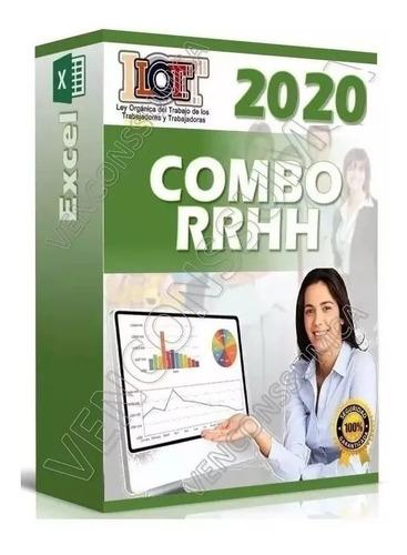 combo rrhh nomina cálculo salariales lottt en excel r m