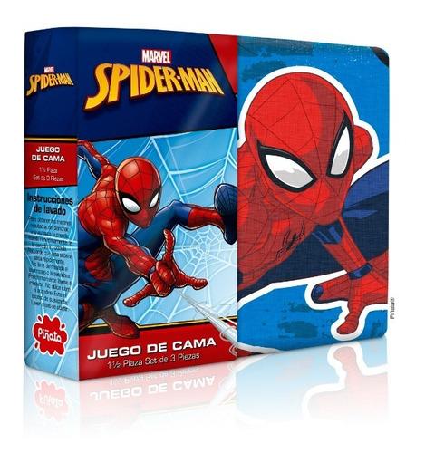 combo sábana + frazada simil piel spider man hombre araña