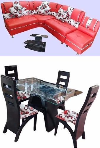 combo sala-comedor en madera y cuerotex con mesa de vidrio