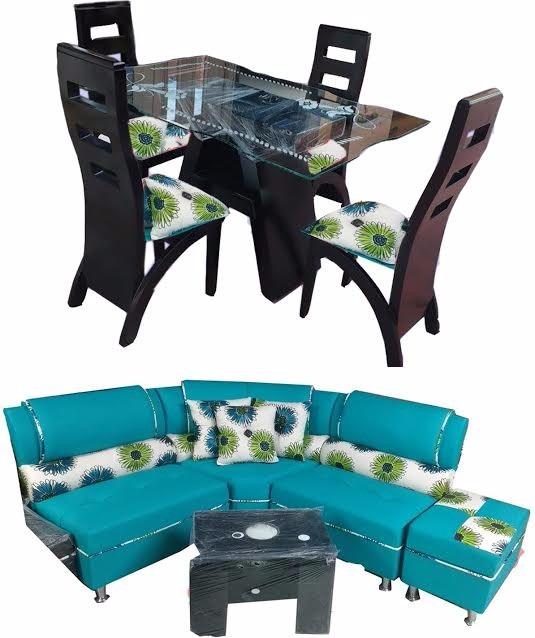Combo sala comedor en madera y cuerotex con mesa de vidrio for Mesas de comedor de vidrio y madera