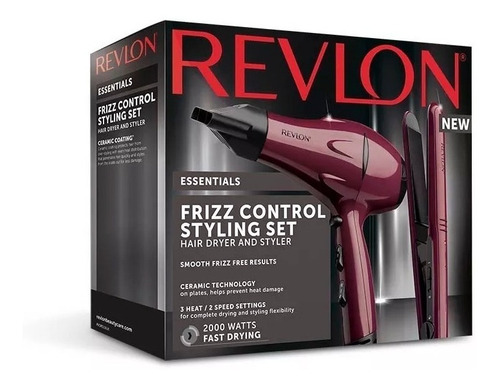 combo secador de pelo + planchita revlon rvdr5230la2a