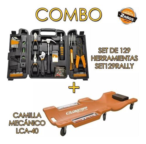 combo set 129 herramientas+camilla de mecanico lq kit120 mm