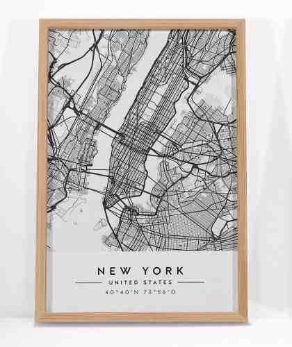 combo set 2 cuadros new york mapa + tipografico 20 x 30 cm