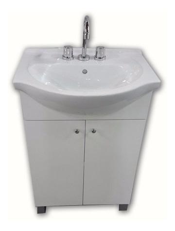 combo set baño 55cm bacha loza griferia vanitory laqueado