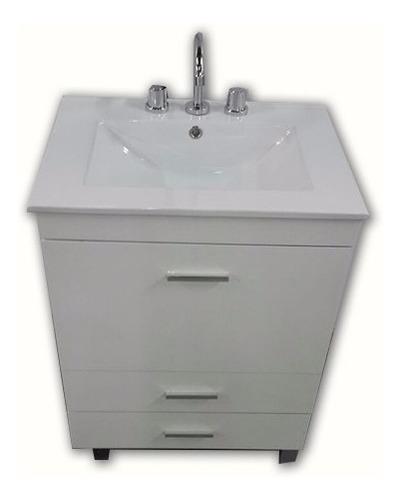 combo set baño bacha loza griferia vanitory 60cm laqueado