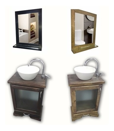 combo set baño vanitory 40cm lav espejo sifon toallero ofert