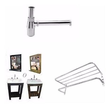 combo set baño vanitory 50cm lav espejo sifon toallero ofer