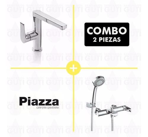 combo set grifería baño piazza next lavatorio y ducha ext