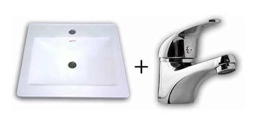 combo set griferia lavatorio monocomado + bacha maral 40cm