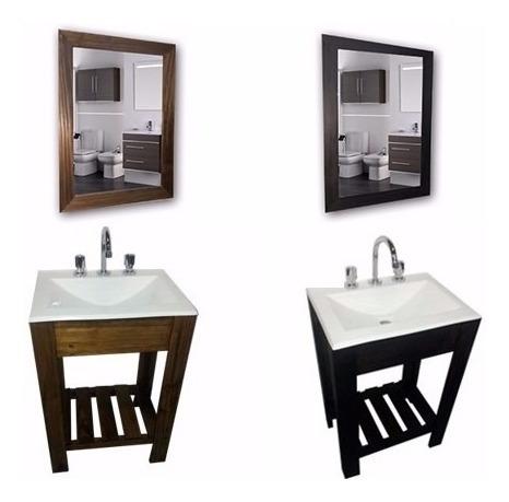 combo set: vanitory 50cm bacha blanca y espejo baño oferta