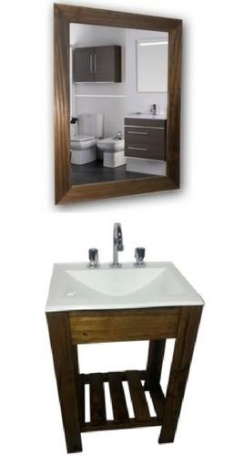 combo set: vanitory 50cm bacha espejo y griferia baño oferta