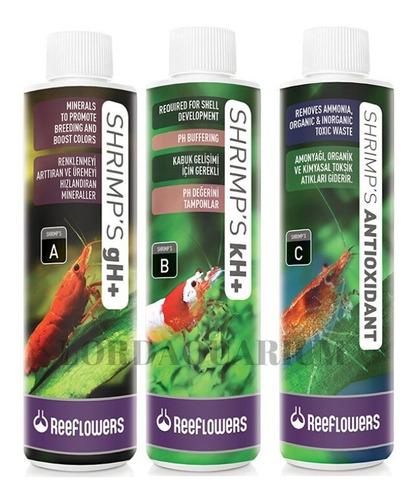 combo shrimps a,b,c reeflowers 85ml melhora cor tira amônia