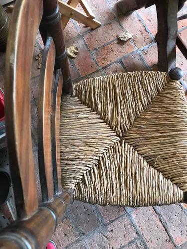 combo sillas madera y paja